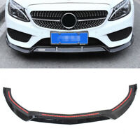 Black Front Bumper Lip Cover Lower Spoiler for Benz C-Class W205 2015 2014~2018