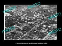 OLD LARGE HISTORIC PHOTO CROSSVILLE TENNESSEE AERIAL VIEW OF THE TOWN c1940