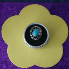 Beautiful Fashion Rings With Tibetan Silver And Created Turquoise 7.1 Gr. Size P