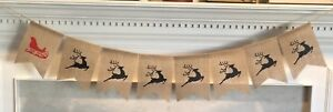 Santa's Sleigh & Reindeer Burlap Garland / Banner - Christmas Party Winter Sign