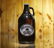 Personalized, Engraved Beer Growler with Skull and Bones (m4)