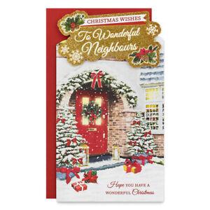 NEIGHBOURS CHRISTMAS CARD ~ TRADITIONAL DESIGN ~ QUALITY CARD  & NICE VERSE
