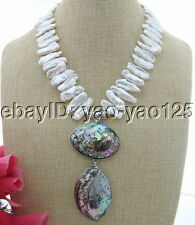 S031503 Natural 25mm White Biwa Pearl Abalone Shell Pendant Necklace