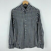 J Crew Button Up Shirt Mens Small Slim Blue Plaid Long Sleeve Collared