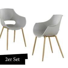 Stuhl Schalenstuhl Grau 2er Set Wohnzimmer Stühle Esszimmerstuhl mit Lehne