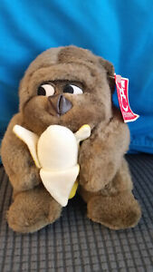 "FAO Schwarz Gorilla Plush With Banana 5"" Ape Stuffed Animal"