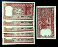 Lot 5pcs Bundle 1970s India 2 Rupees Bengal Tiger Old Serial Bank notes Rare UNC