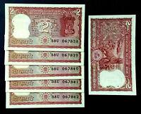 Lot 5pcs Bundle 1970-80 India 2 Rupees Bengal Tiger Old Banknotes Rare UNC set
