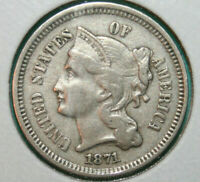 1871 TDO Three Cent Nickel Triple Die Obverse FS-101 3CN