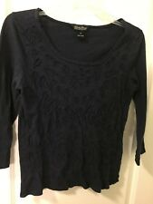 Lucky Brand Cut Out Design-Navy LS-Sz M-100% Cotton Top -CUTE