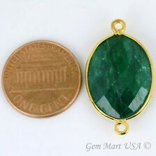 Natural Emerald 15x20 mm Oval Double Bail Bezel Gemstone Gold Plated, Connector