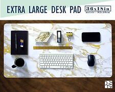 """White Marble and Gold Extra Large Desk Pad 36x18"""" Extended Mouse Pad"""