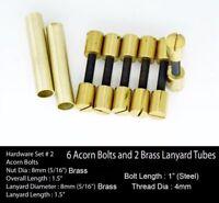 Knife Handle Hardware 6 Brass Acorn Bolts 2 Lanyard Tubes Knife Making Supply