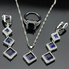 925 Sterling Silver SAPPHIRE BLUE Earrings Necklace Ring SIZE 9 Jewelry Set UK