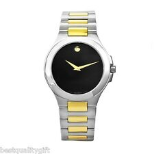 NEW-MOVADO MUSEUM 2,TWO TONE SILVER+GOLD+BLACK DIAL SWISS MADE WATCH 0606181+BOX