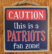 "PATRIOTS Caution Wood sign with easel 5""x5"" NEW ENGLAND Football USA plaque"