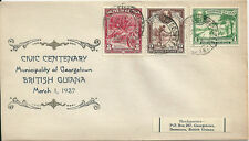 British Guiana 1937 Georgetown Centenary souvenir cover with 1c,2c,3c KGV defins
