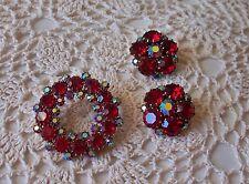 Vintage Red & AB Rhinestone Circle Pin & Earring Set Signed Kramer