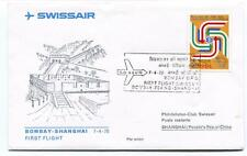 FFC 1975 Swissair Club First Flight Bombay Shanghai People's Rep. China