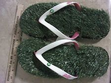 Medium (US 10-11) Grass Flip Flops Pink/White Comfortable Unisex Shoes Women Men