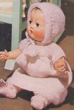 Vintage Knitting PATTERN to make Baby Doll Clothes Dress Bonnet Booties 11Gerald