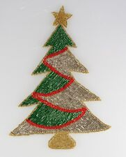 Christmas Tree lg. w/red rope Sequin Applique Shinny & Bright really fun wear