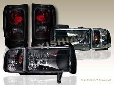 94-01 Dodge Ram 1500 / 94-02 2500/3500 Black Headlights + Corner + Tail Lights