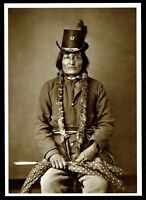 ⫸ 902 Postcard LONG SOLDIER, Hunkpapa Chief - 1874 Photo by O.S. Goff – NEW Born