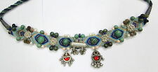Antique ethnic handmade tribal old silver & stone beads jewelry necklace india