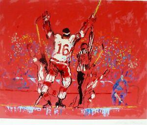 "LeRoy Neiman ""RED GOAL"" Hockey Hand Signed vintage Serigraph 1973"