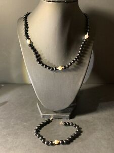 14k Yellow Gold Black Onyx & Cultured Pearl Bracelet and Necklace Set