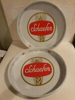 Schaefer beer vintage serving tray lot 2 oldest lager