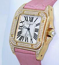 Cartier Santos 100 Midsize WM502051 Fact Diamond 18K Y Gold Auto 2880 BOX/PAPERS
