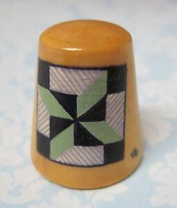 Hand Painted Signed Numbered Thimble Clay's Choice Quilting Block Pattern SHP