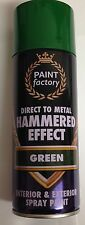 2 x Green Hammer Effect Spray Paint Can Like Hammerite Metal Rust 400ml