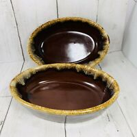 Monmouth Stoneware Oval 6 3/4 Inch Bowls Brown Drip Heavy Maple Leaf  USA VTG