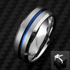 8mm Tungsten Men's Ring Blue Grooved Stripe Beveled Wedding Band - Engravable