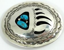 T Hasteen Navajo Sterling Silver Belt Buckle Bear Claw Turquoise Vintage 1614LPQ