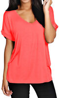 Women Oversized Baggy Top Loose Fit Turn up Batwing Sleeve V Neck T shirt Tops