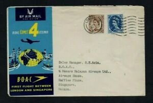 B.O.A.C. 1959. COMET 4. ILLUSTRATED FIRST FLIGHT COVER. LONDON-SINGAPORE.