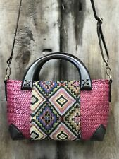 Women Straw woven Handmade Dark Pink Handbag Crossbody Summer Beach Shoulder Bag