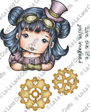 New La La Land Craft STEAMPUNK MOLLI Cling Rubber Stamp Girl Machinery Vintage