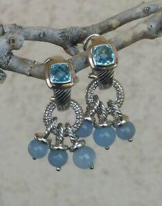 Judith Ripka Textured Blue Topaz Huggie Earrings W/removable Blue Gem Charm 925
