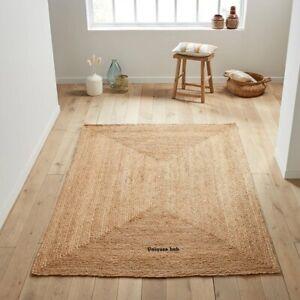 Jute Rug Runner Braided style Reversible 6x9 Feet Rustic look Area Rug Carpet