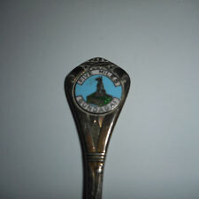 OLD souvenir spoon STOKES MELB EPNS A1 enamel FIVE MILES GUNDAGAI dog tucker box