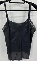 "Vintage Black Silky Nylon & Lace Cami Camisole Adjustable Straps 40"" Bust"
