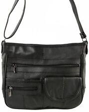 Ladies Real Leather Travel Organiser Handbag Shoulder Bag 3771 BLACK