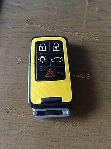 Carbon Gelb Folie Dekor Cover Schlüssel Volvo D5 S80 XC60 XC70 V70 5 Tasten