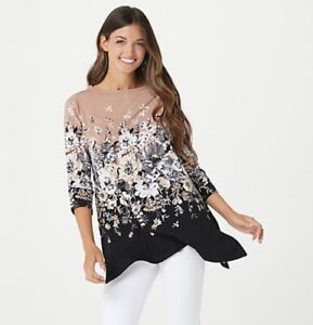 Isaac Mizrahi Live! Engineered Floral Print Trapeze Top Black Small A385191