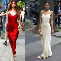 Women's 19 Momme 100% Mulberry Silk V Neck Maxi Strapy Dress Ailisilk Sleeveless